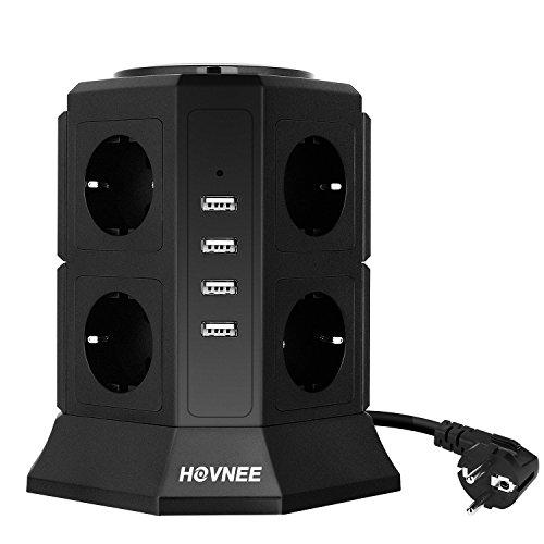 HOVNEE Steckdosenleiste Mehrfachsteckdose 8 Fach Steckdosenturm (2500W/10A )mit 4 USB Ladeanschlüsse und 2,0 m Kabel ( 5V/4,5 A) ,Überspannungsschutz und Kurzschlussschutz,Schwarz