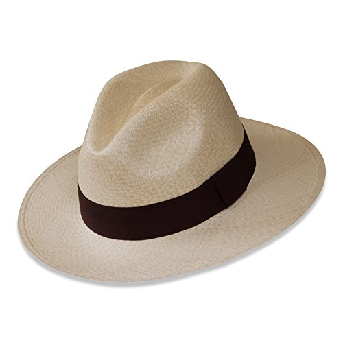 Tumia - Fedora Panama Hat - Natural with Brown Band - Non-rollable version. ac498d834c89