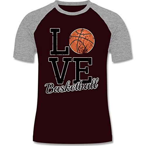 Basketball - Love Basketball - zweifarbiges Baseballshirt für Männer Burgundrot/Grau meliert