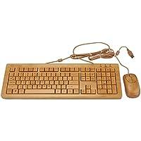 Sengu KU308-SG-N, N-MU1055 2,4 GHz, in bambù, realizzata a mano, con Mouse e tastiera multimediale-con (108 Chiave Usb)