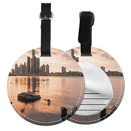 Round Travel Luggage Tags,Idyllic Sunset View with High Rise Buildings Riverfront Rocks Calm Peaceful,Leather Baggage Tag -