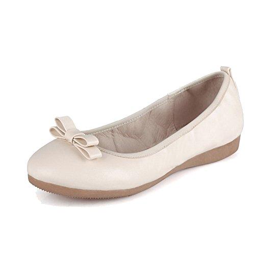 AgooLar Damen Ziehen Auf Niedriger Absatz Blend-Materialien Rein Rund Zehe Pumps Schuhe Cremefarben