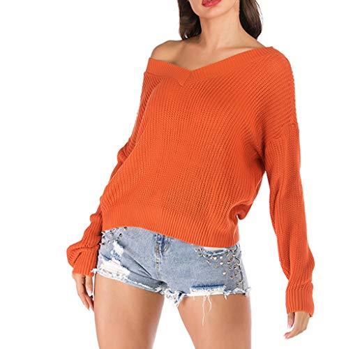 Cherokee V-neck Tunika (Haughtily Frauen Sexy V-Ausschnitt Patchwork Strickpullover Langarm Backless Herbst Winter Casual Warmed Pullover Tops)