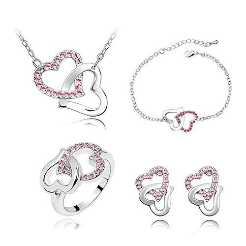 Carry stone Frauen Silber Gefüllt Glanz Österreichischen Kristall Herzform Kette Halskette Ohrringe Ringe Schmuck Sets Frauen Geschenk Hohe Qualität