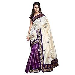 Buyonn Women's Raw Silk Saree (OFS1573-PURPLE-SARI_Purple)