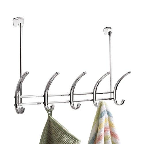 mDesign Hakenleiste - 10 Garderobenhaken für die Tür im Flur oder Schlafzimmer - Türgarderobe für Mäntel, Jacken, Handtücher & Co - Chromfarben Handtuch Haken Gesetzt