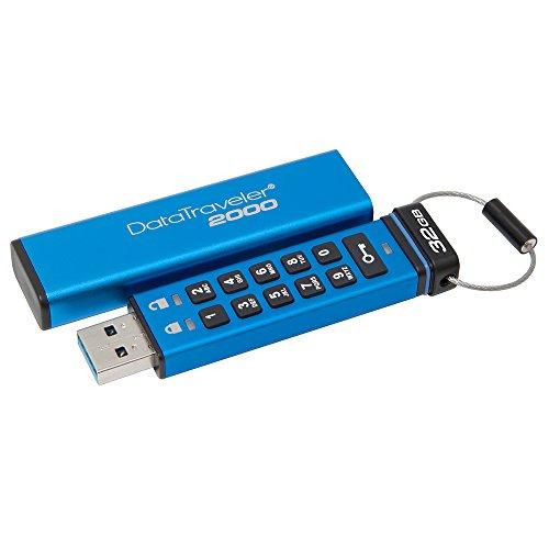 Kingston DataTraveler 2000 - DT2000/32GB verschlüsselter USB 3.0 Speicher (mit Tastatur)
