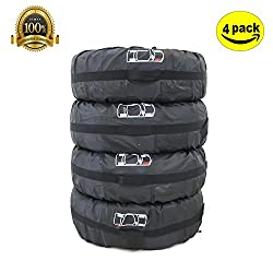 Adjustable 4x4 Spare Tire Covers ELR 80cm 31''Inches Waterproof Durable Tyre Tote Bag Wheel Protection Cover With Handle for Cars RV VANs SUV Pack of 4 Black(80cm Diameter )