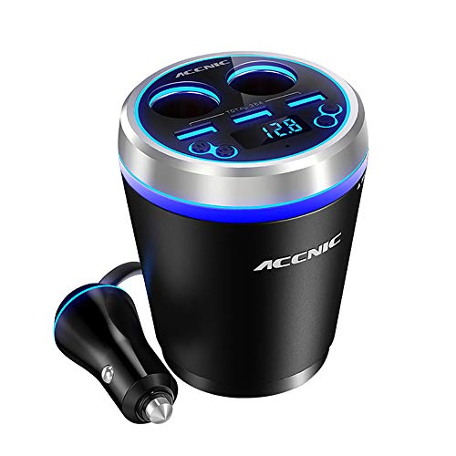 QKa Auto-MP3-Player, 5 in 1 Dual USB Car Cigarette Lighter, TF/Miscro SD Car Music+MP3 Player + Handsfree Bluetooth + FM Transmitter+3 USB Port Car Charger Cup,Blue Hands Free Car Charger