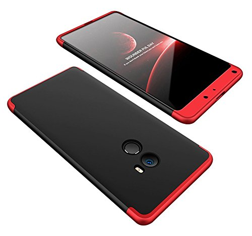 2ndSpring Xiaomi Mi Mix 2 Sheath, Funda Xiaomi Mi Mix 2 360 Grados Integral para Ambas Caras + Tempered glass, Luxury 3 in 1 PC Hard Skin Carcasa Case Cover para Xiaomi Mi Mix 2 Rojo Negro