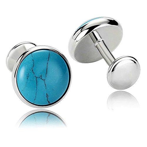 Aooaz Gemelli Uomo Plain Serie Specchio Cerchio Acciaio Inossidabile Camicia Gemelli Blu Gemelli