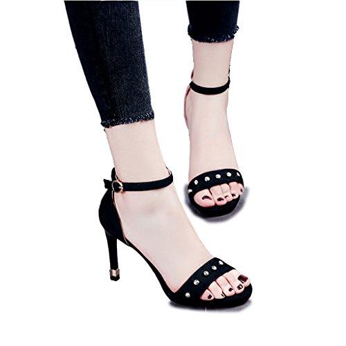 Hyun Times Sandales Noires D'Été Exposées au Pied avec des Riffs Chaussures Féminines