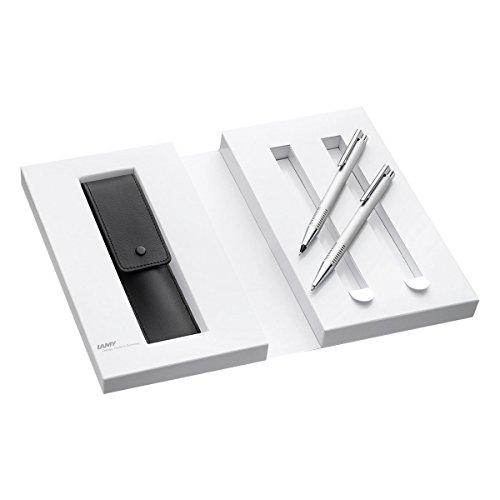 Lamy 1230490 Set Druckkugelschreiber und Druckbleistift mit Lederetui in Geschenkverpackung M 206/106 brushed, silber (Lamy Füllhalter-set)