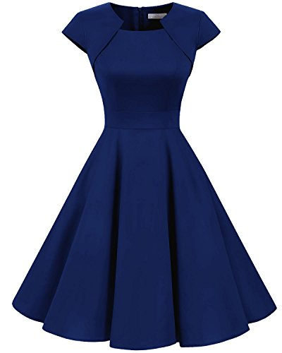Homrain Damen 50er Vintage Retro Kleid Party Kurzarm Rockabilly Cocktail Abendkleider Royal Blue 3XL (Vintage Chiffon Kleider)