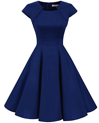 Homrain Damen 50er Vintage Retro Kleid Party Kurzarm Rockabilly Cocktail Abendkleider Royal Blue 3XL (Blau Frauen Kleider Für Groß)
