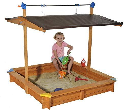 Koll Living Sandkasten Mickey 1 mit Dachlift – 140×140 cm – einfach das Dach senken und so den Sand sauber halten