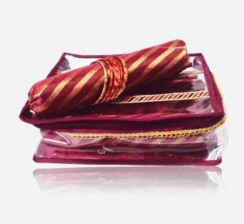 PrettyKrafts Bangle Box - Jacquard, Banarsi Brocade Bangle Organizer - Jewellery Box - 3 Rolls - Maroon