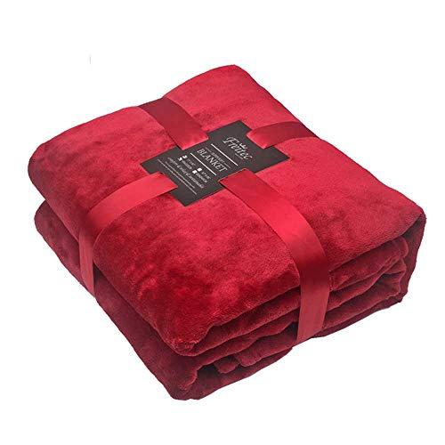Freitec Kuscheldecke Tagesdecke 220 x 240cm Mikrofaser Decke Coral Fleece,Sofadecke Supersoft warm, super weiche hochwertige microfaser, Rot