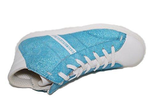 Alta Stringhe Azzurro Leather Glitter D74 Bikkembergs Word Sneaker BKJ102960 Bianco qHHFY