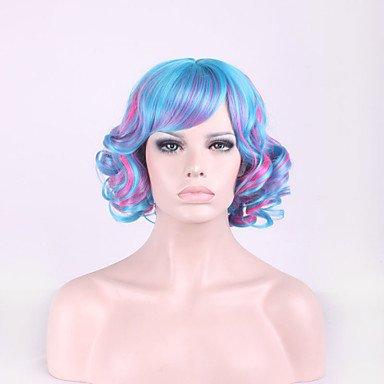 HJL-harajuku lolita mixte couleur cheveux cosplay d¨¦grad¨¦ bleu perruque rose , 14 inch