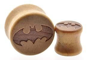 Wood Ear Plugs Wooden Smooth Flesh Tunnels Ear Stretching Batman 10mm