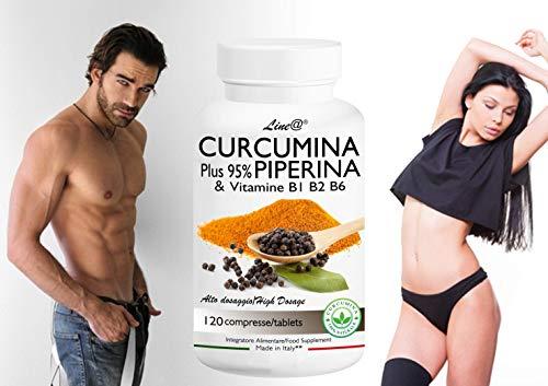 CURCUMINA Plus 95% 100% NATURALE Curcuma e Piperina - potenziata con PIPERINA 1000 mg Alto Dosaggio (120 CPR) 20 VOLTE PIU' EFFICACE! Prodotto ITALIANO
