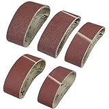 WOWOSS 25 Bandes Abrasives 75 x 533 mm Abrasifs pour Ponceuse à Bande 40/60/80/120/180 pour Machinerie, Métallurgie…