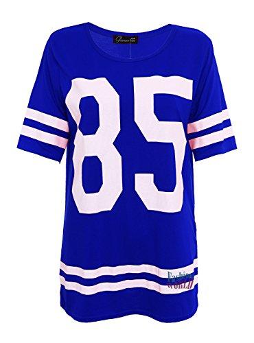 Womens Stampa 85Varsity T Shirt Oversize Baseball Americano Baggy Top Jersey 8–14 Blue