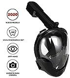 Máscara de Buceo o Snorkel con visión panorámica 180° Real con Pantalla Curva, Sistema Anti-vaho y Soporte para cámara Deportiva (L-XL)