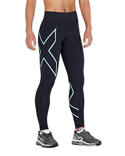 2XU Damen Bonded Mid-Rise Tights Strumpfhose, Black/Aruba Blue, Größe S