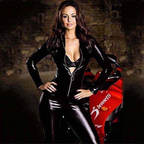 JL-Q Lingerie Erotica da Donna Sexy Tuta Aderente in Pelle Verniciata Abbigliamento Moto DS Night Club Club Performance Sexy Tuta Role-Playing,M