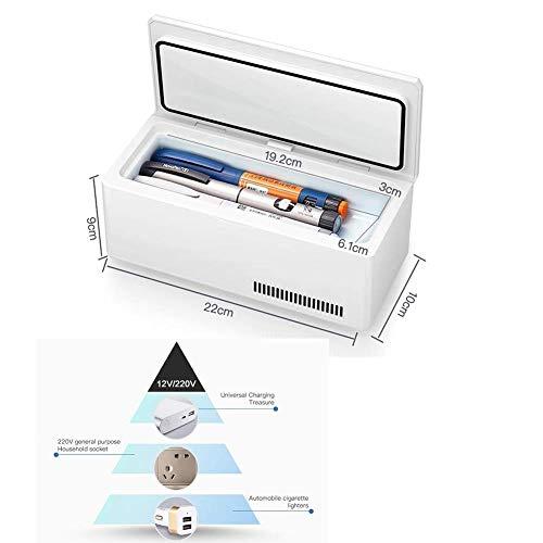Tragbare Insulin-Kühlbox mit großer Kapazität, wiederaufladbare LCD-Anzeige 0-18 ° C Car Interferon Cooler Medical Mini Refrigerator Travel, Camping