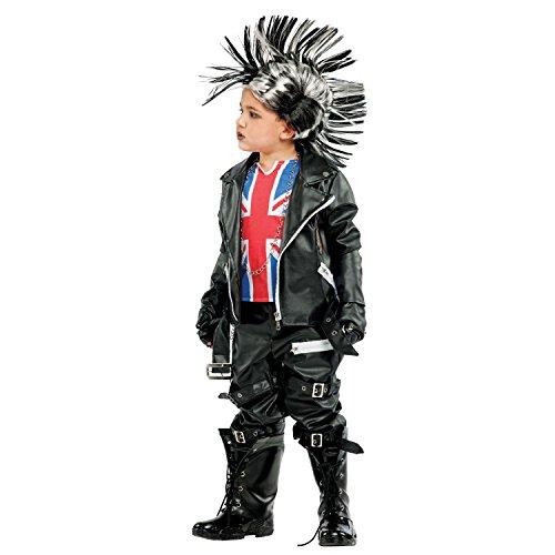 Krause & Sohn Kinderkostüm Punk Rebell Kid Deluxe viel Zubehör schwarz Punker Union Jack Großbritannien Irokese Biker Fasching Karneval (122)