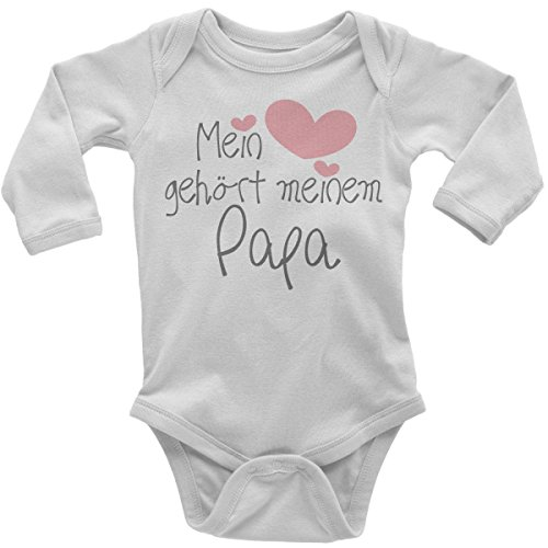 Mikalino Babybody Mein Herz gehört meinem Papa langarm, Farbe:weiss;Grösse:62