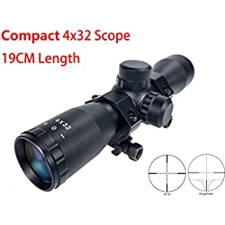 Hauska Tactique 4x32 Compact Lunettes De Visée Fusil Lunette De Chasse Rifle Scope Mil-Dot Télémètre réticule Monture Anneau Picatinny