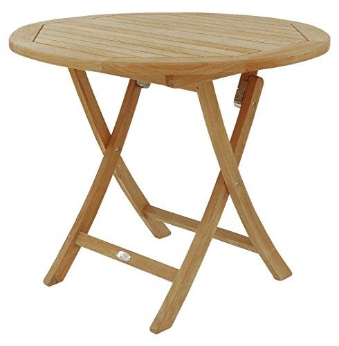 BEHO Natürlich gut in Holz ! Rundklapptisch 90x75 cm aus unbehandelten Teakholz, stabil, hochwertig langlebig Beistelltisch Klapptisch