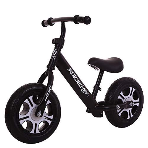 Biciclette senza pedali Equilibrio di Bambini,Scooter Fare Un Passo Ragazzi e Ragazze Tapis roulant 2-6 Anni-Nero 29.1inch