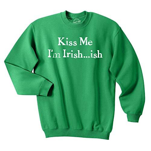 St Pattys Tag-t-shirts (Crazy Dog Tshirts - Kiss Me I'm Irish-ish Funny St. Patrick's Day Unisex Crew Neck Sweatshirt (Green) - XXL - Herren - XXL)
