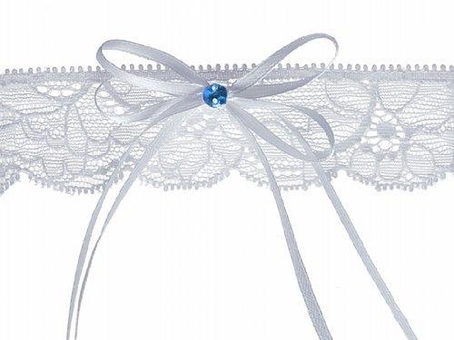 Strumpfband mit Schleife und blauem Stein