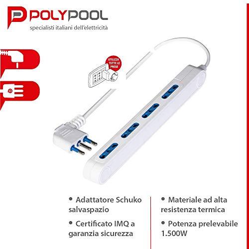 Poly Pool PP2522 Presa Multipla SPAZIOZERO Con Spina 16 A Grande E 4 Prese Bivalenti 1,5 m cavo Bianca