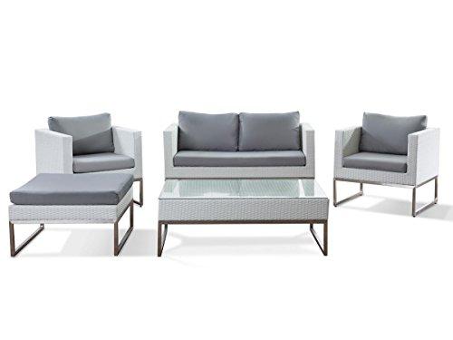 Rattan Gartenmöbel Cindy Farbe Weiß + Grau 14 Teiliges Komplett Set  Rattanlounge Sitzgruppe Für Garten Couch + Sessel + Tisch Luxus Rattanmöbel  Für Balkon ...