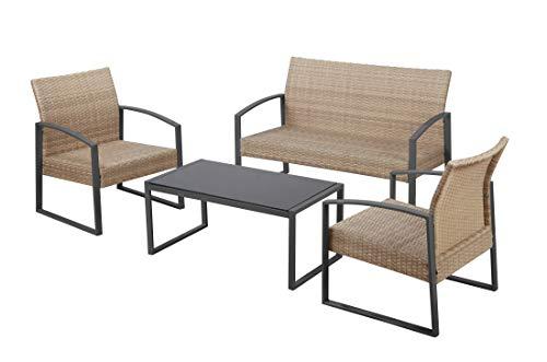 Havnyt - Juego de 4 Asientos de ratán para jardín o Patio, con sofá de 2 plazas y 2 sillones en Metal Gris con Mesa de café, Color Gris