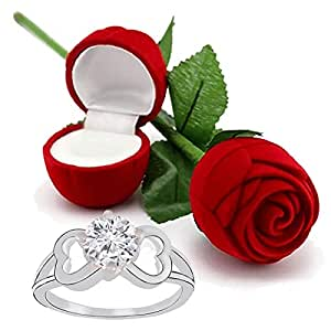 I Jewels Valentine's Day Gift Hamper of CZ Ring with Red Rose Gift Box for Girlfriend Gift for Valentine/Gift for Girl (S001-FL39CO)