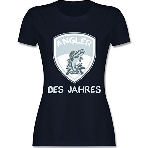 Angeln - Angler des Jahres - tailliertes Premium T-Shirt mit Rundhalsausschnitt für Damen Navy Blau