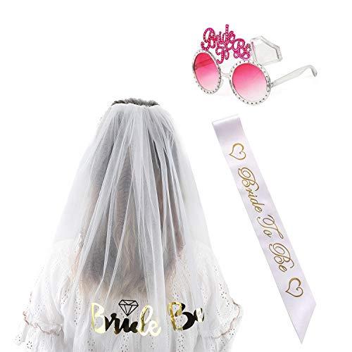 iLoveCos Hen Party Dekoration Zubehör Henne Braut zu Sein Set Bride to Be Satin Schärpe Sonnenbrille Brautbrille Weiß Hochzeit Braut Schleier mit Kamm, 3 Stück