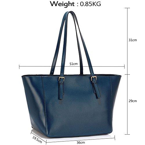 Meine Damen Umhängetaschen Frauen Große Designer Handtaschentoteschulterkunstleder Modische Taschen Promi Stil Kunstleder (D - Dark Nude) B - Marine