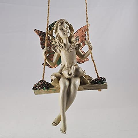 Forest Fairy Flowers Hanging Rope Swing Copper Winged White Sculpture