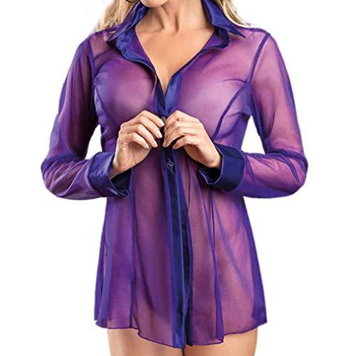 SMILEQ Frauen Reizvolle Wäsche Transparente Clubwear Arbeitswalze Lange Hülsen Unterwäsche (Lila)