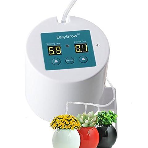 Plante avec système d'arrosage automatique pour pompe automatique Drip Système d'arrosage pour plantes en pot et tube de 10m, Kits de goutteurs inclus