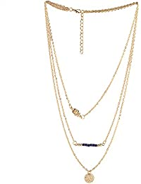 Stripes Presents Golden Multi Layer Chain With Hamsa And Blue Beads Designer Necklace For Women And Girls